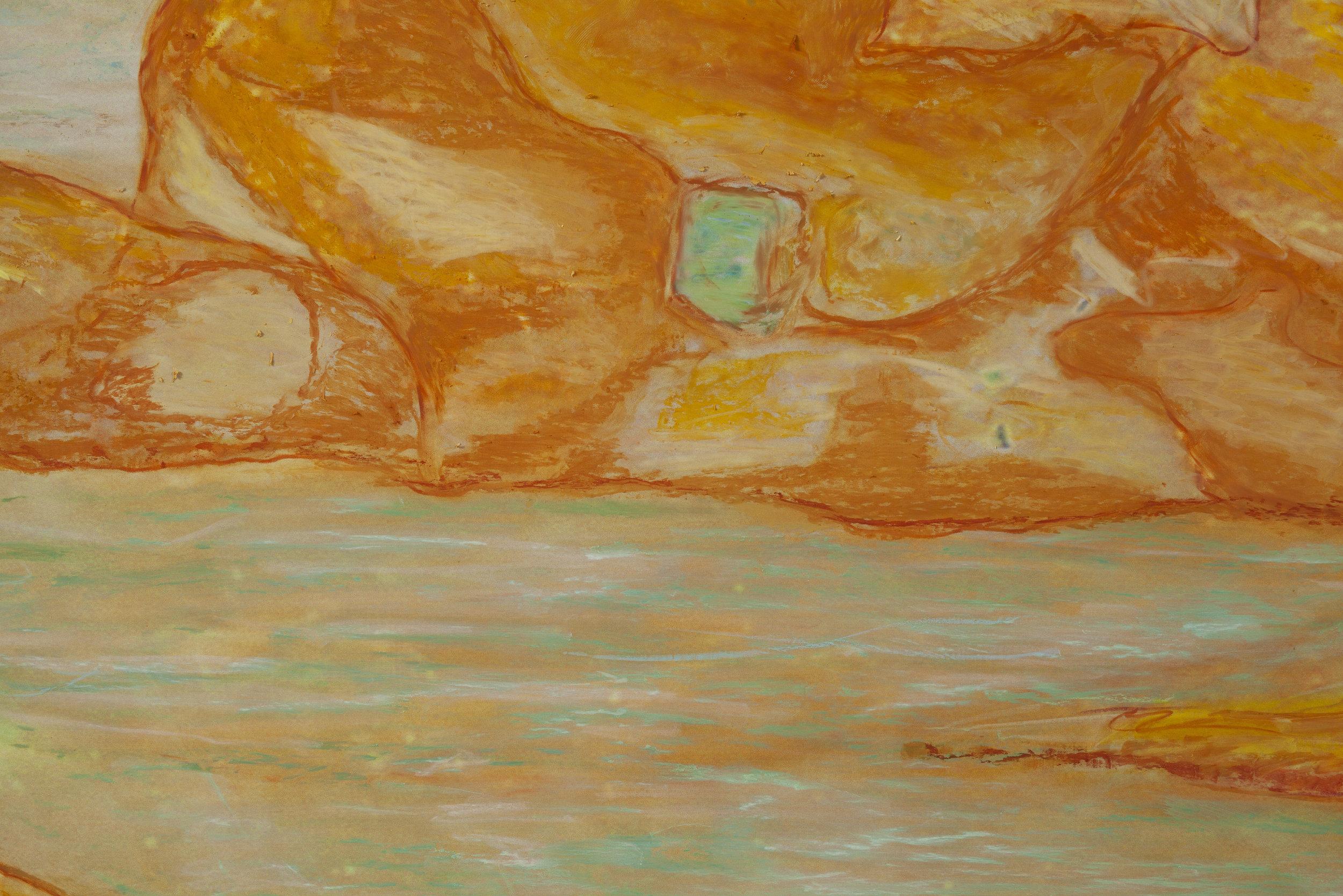 Beyond the Oecumene / Part XI,  2019  - Detail Wax pastels, UV-print on gold Alu-Dibond