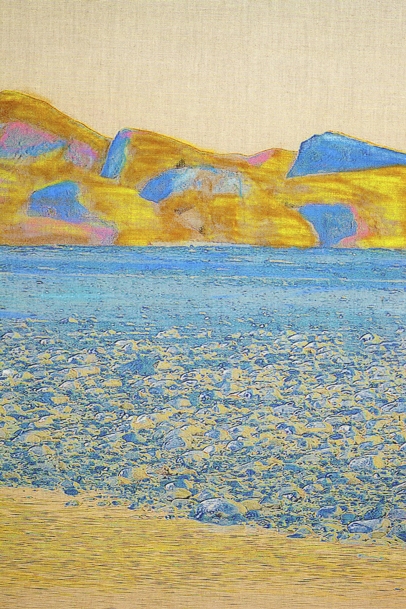 Beyond the Oecumene / Part XVI (Triptych),  2019 - Detail Wax pastels, UV-print on canvas