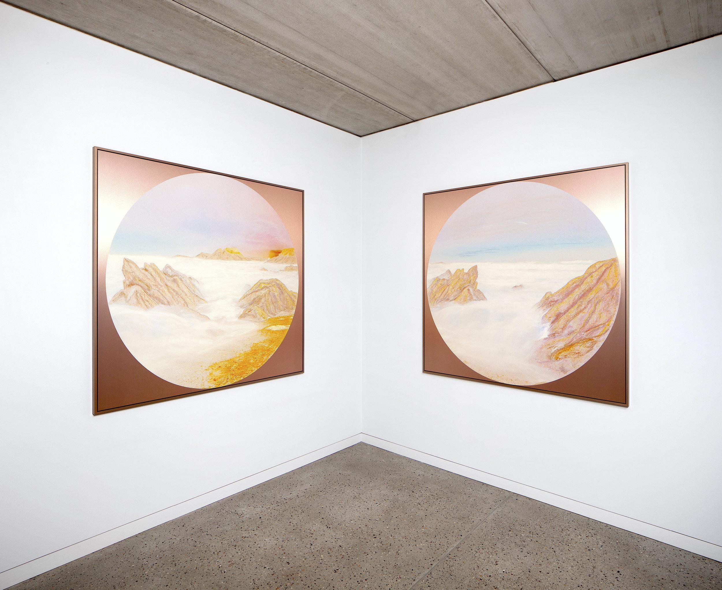 Beyond the Oecumene / Part XXXVIII, XXXIX,  2019 - Installation view Wax pastels, UV-print on copper Alu-dibond 150 x 150 cm (59 x 59 in) each
