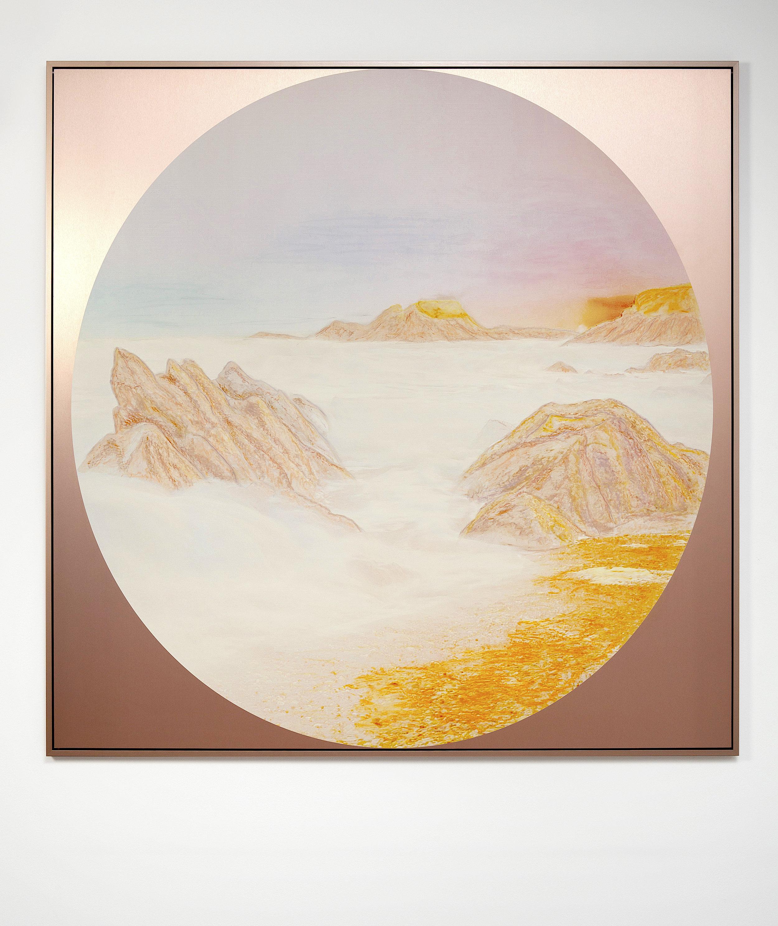 Beyond the Oecumene / Part XXXVIII,  2019 Wax pastels, UV-print on copper Alu-Dibond 150 x 150 cm (59 x 59 in)