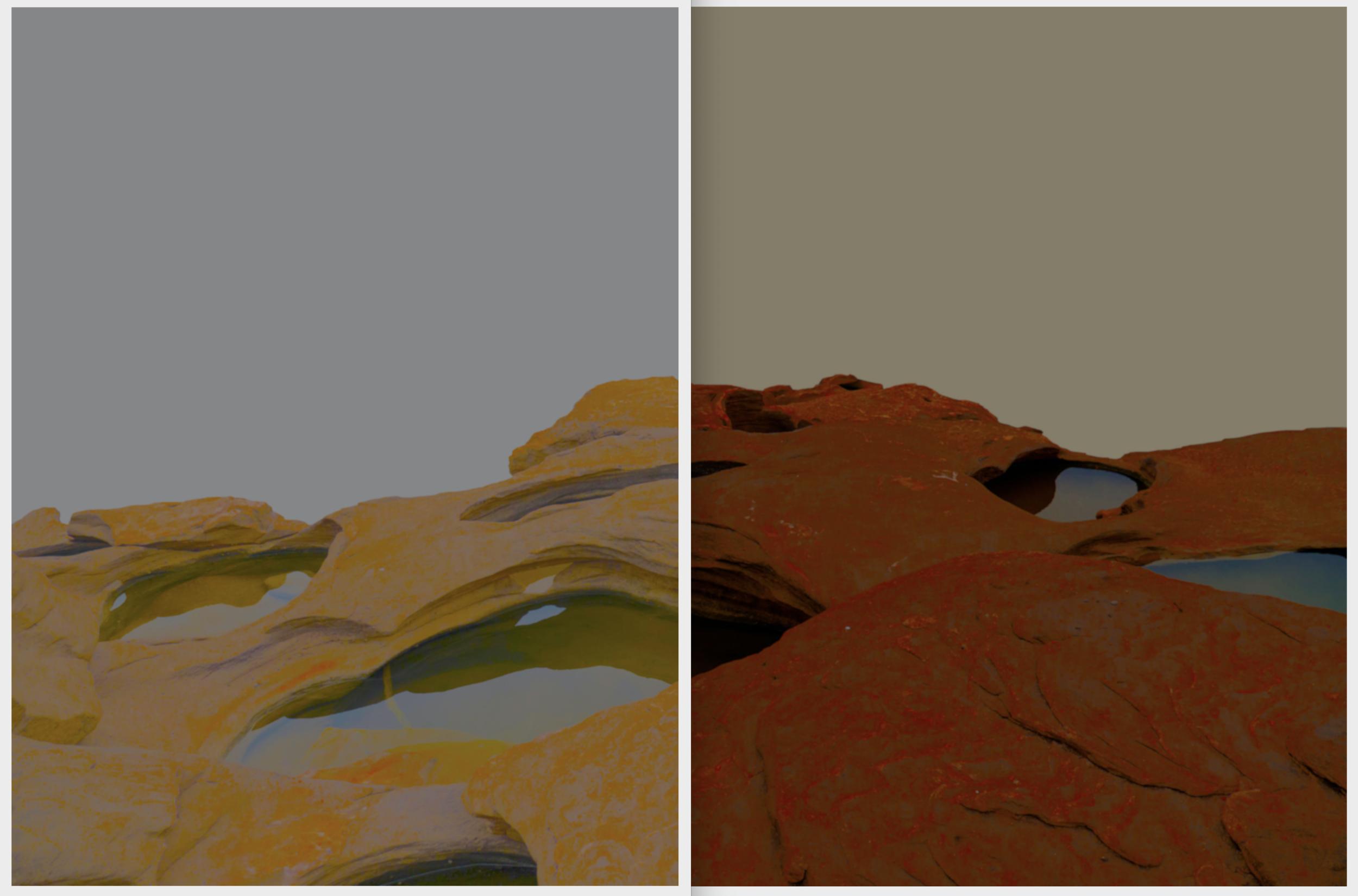 Beyond the Oecumene / Part XXIX (Diptych),  2019 Wax pastels, UV-print on aluminium 300 x 170 cm (118 x 67 in)