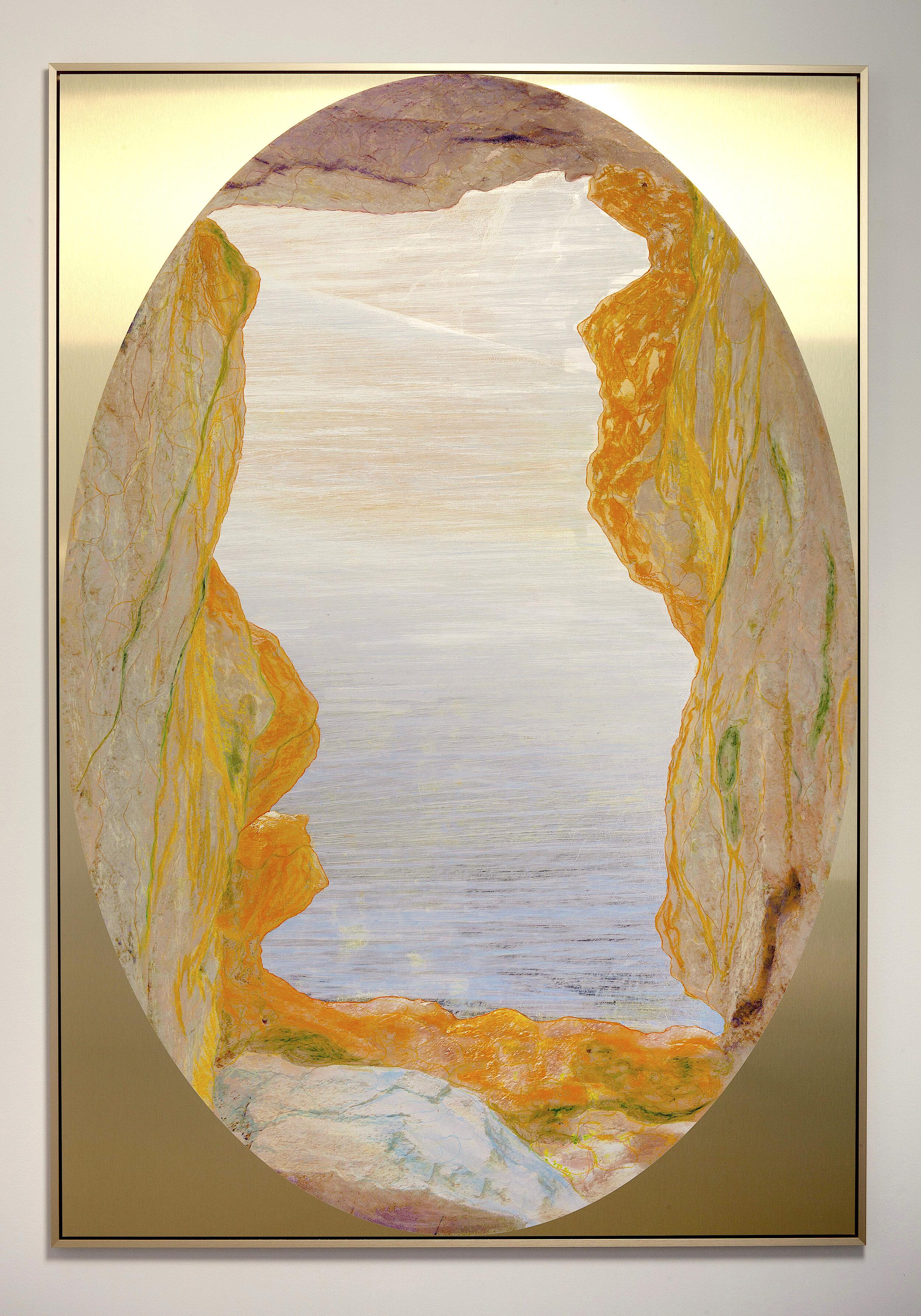 Beyond the Oecumene / Part XL,  2019 Wax pastels, UV-print on gold Alu-Dibond 190 x 120 cm (75 x 47 in)