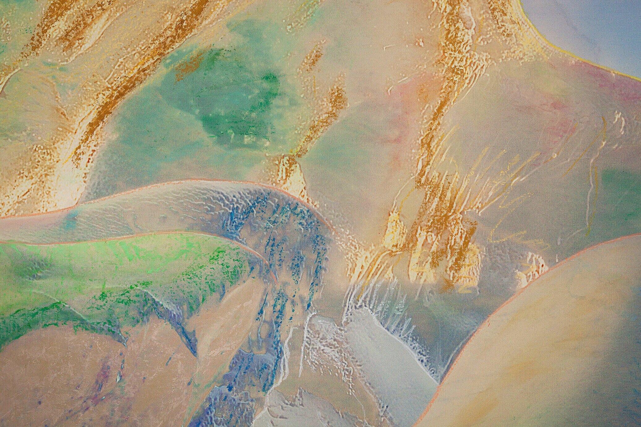 Beyond the Oecumene / Part XLI (Diptych),  2019 - Detail Wax pastels, UV-print on gold Alu-Dibond