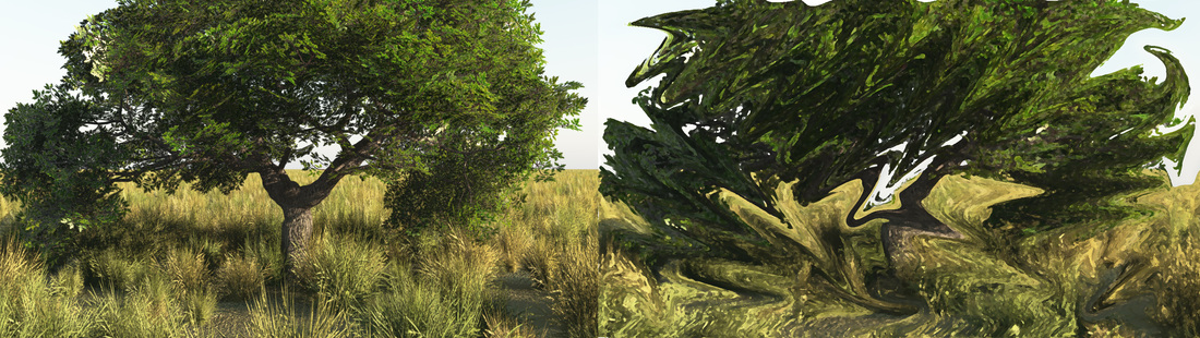 Original Vue render on left, test version of abstraction on right.