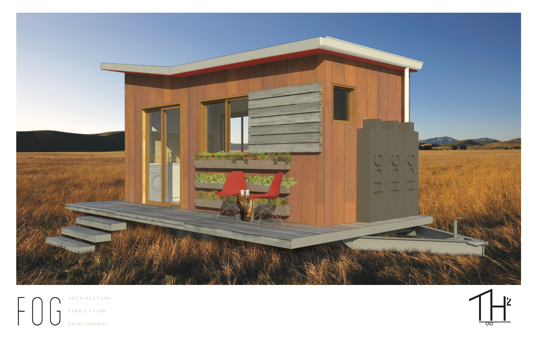 A collaboration with FOG architectural firm principals Brandon Marshall and Tiffany Redding, TH2 (Tiny House 2.0) is an exploration of what can be achieved from both a design and sustainability standpoint in a sub-200 square foot space.