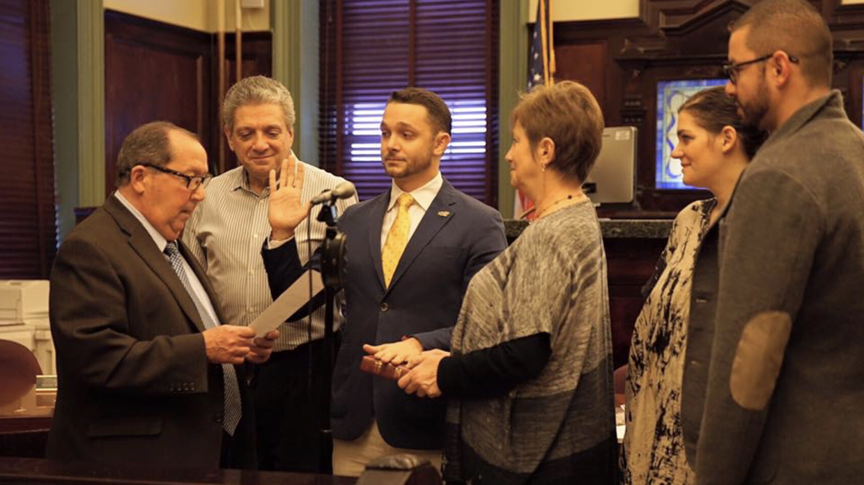Mike being sworn in as first ward Councilman, January 1 2016.