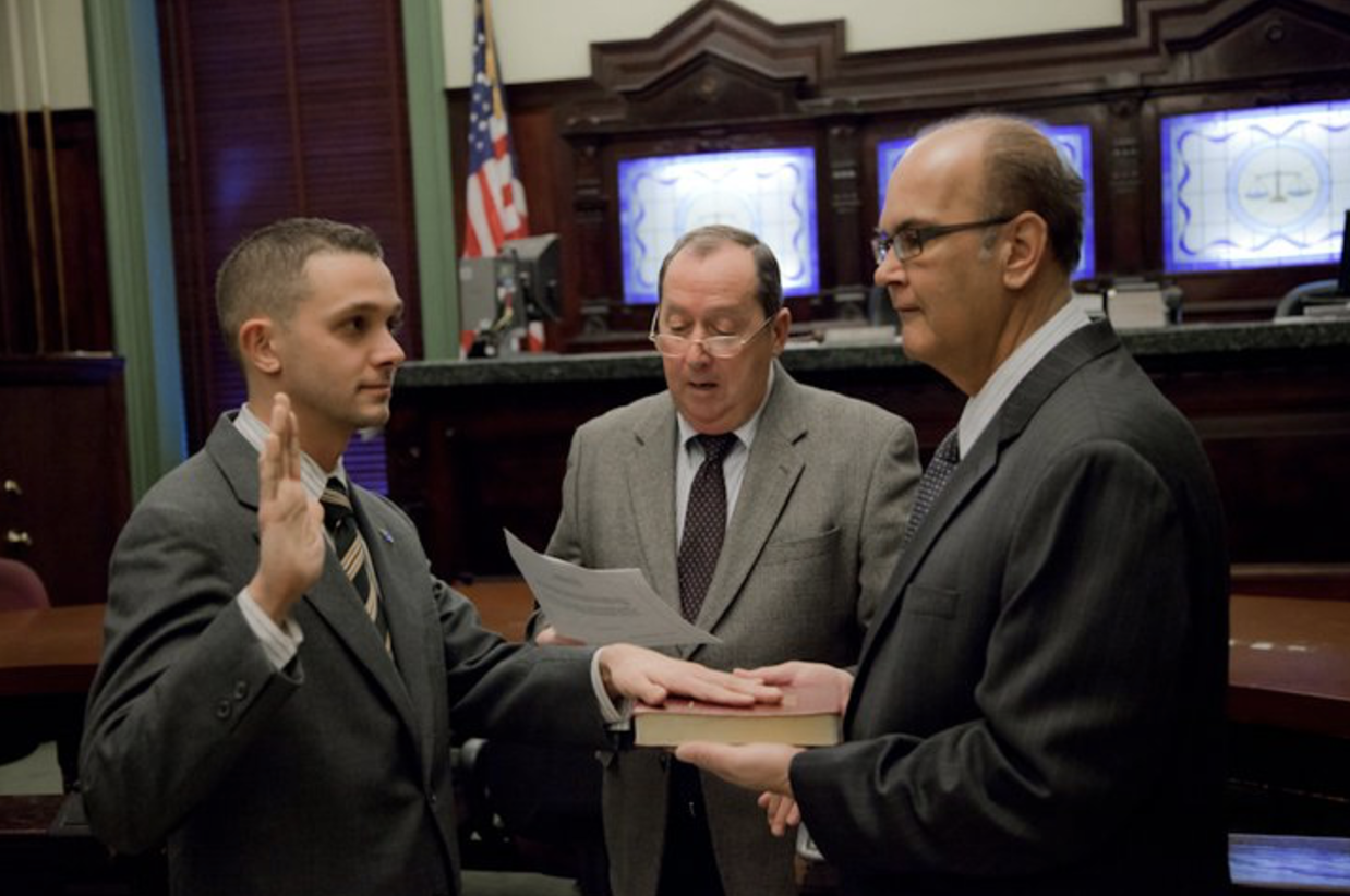 In 2011, Mike became the youngest commissioner on the Zoning Board, at age 28. He's seen here being sworn in by City Clerk James Farina and former County Freeholder, Maurice Fitzgibbons.