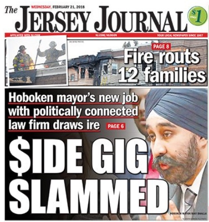 Front page of The Jersey Journal featuring the story, which can be  read here