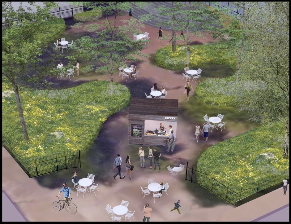 Rendering of the pocket park at 77 Park Avenue with food kiosks