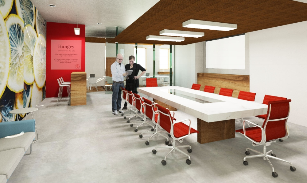 the office conference room with a custom conference table designed from reclaimed wood and marble.