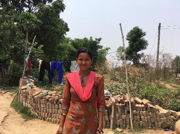 Ramkumari, 23, pictured above, in front of her vegetable garden