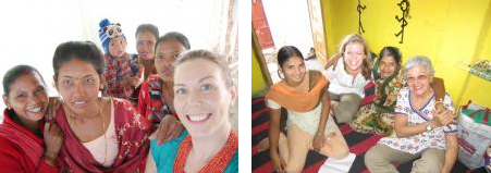 Katie Phelps, pictured in left image, far right Tamara McLellan, pictured in right image, second from left
