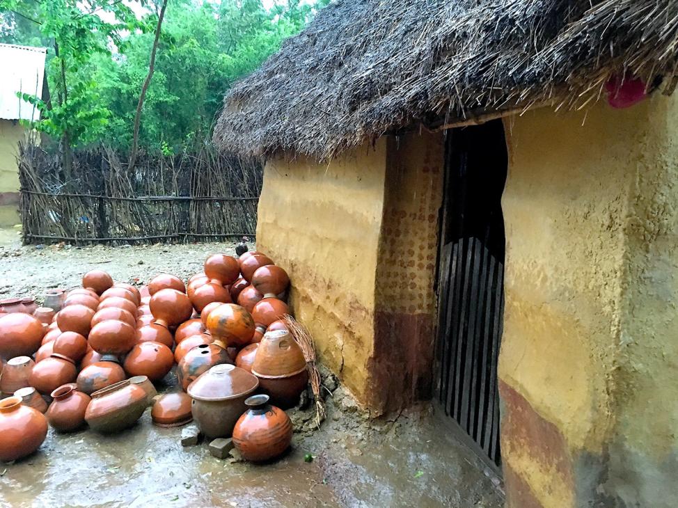 The clay pots Dhankumari's husband makes