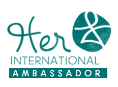 Her International Ambassador badge