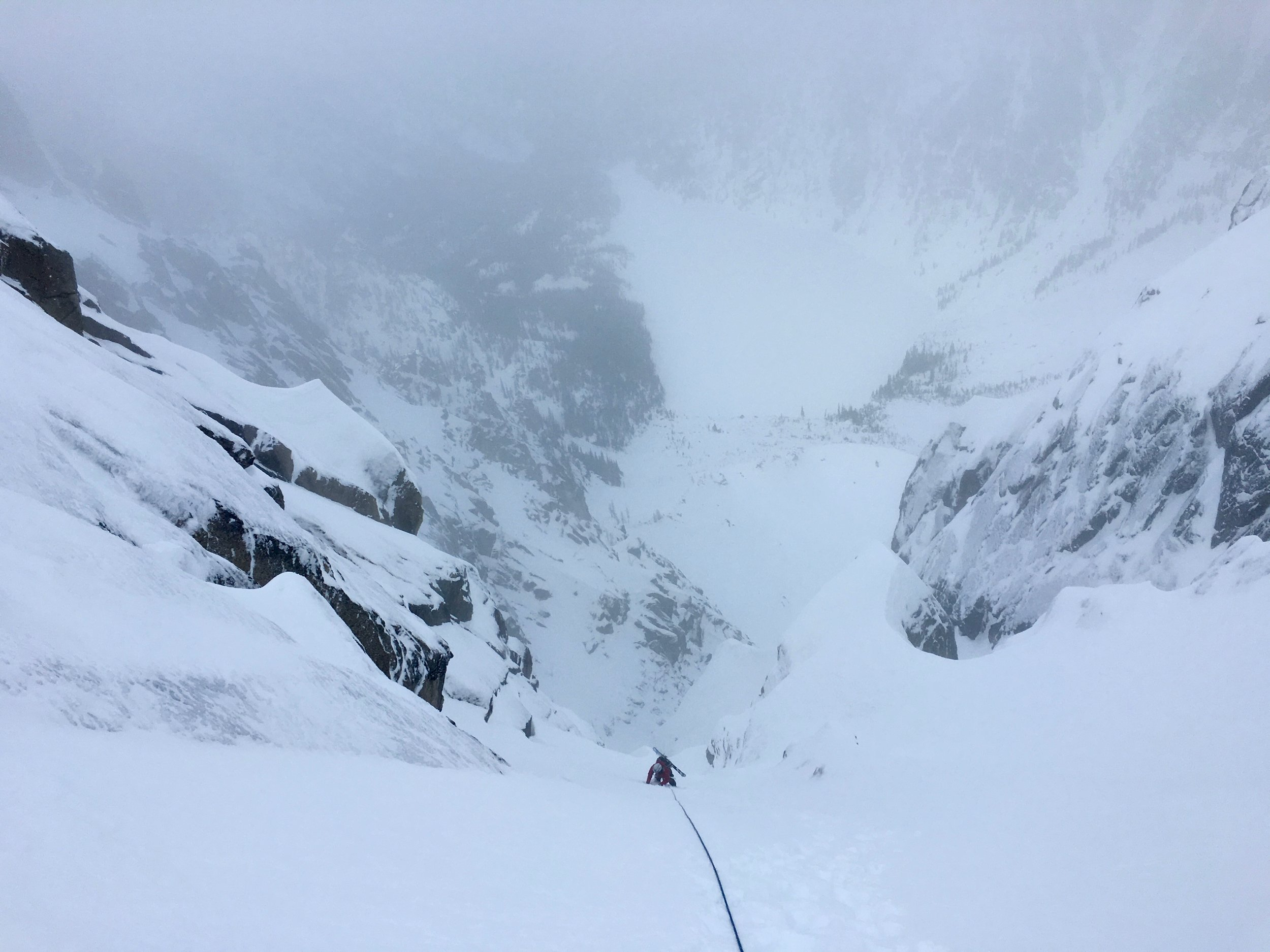 Kelsey on steep snow near the thrilling final pitches