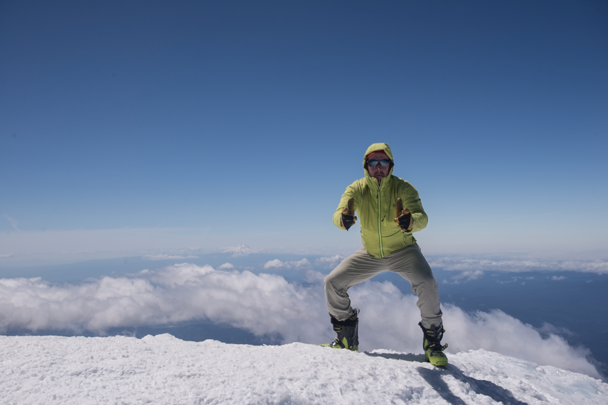 Dale on the summit with a view of Mount Hood