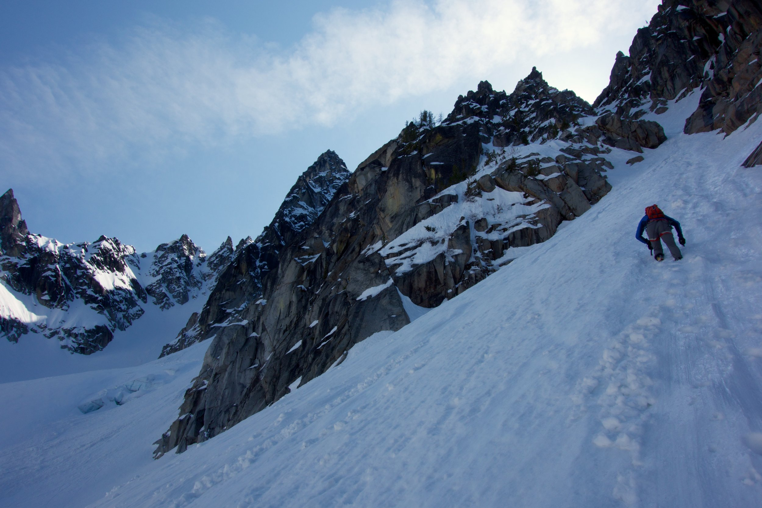 Heading into the base of the couloir