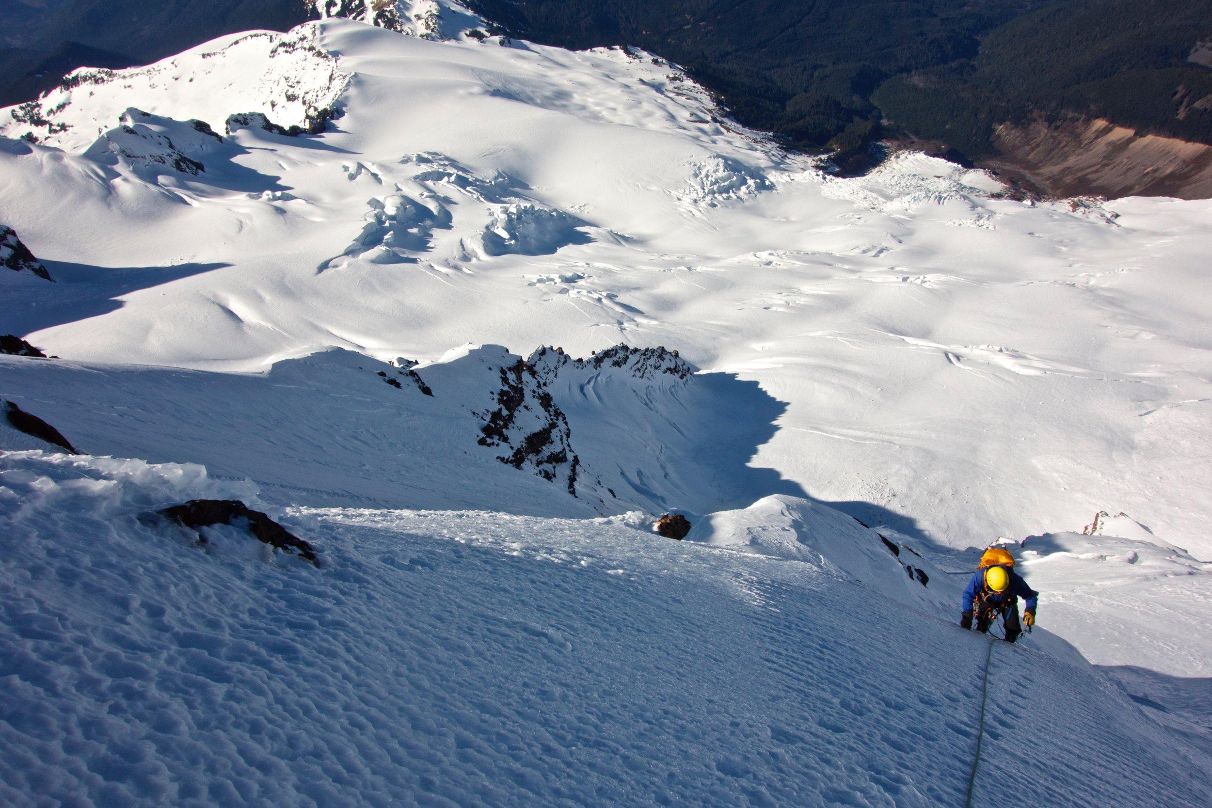 High on the headwall above the bergschrund