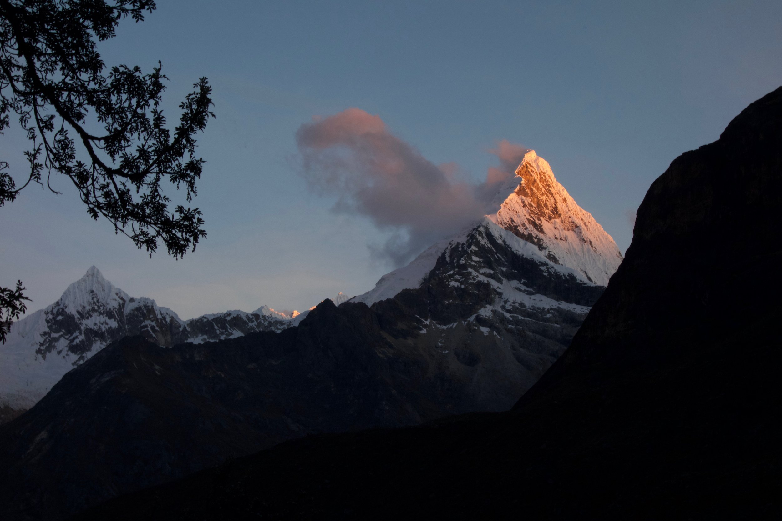 Artesonraju (the Paramount Pictures Peak) from base camp at sunset