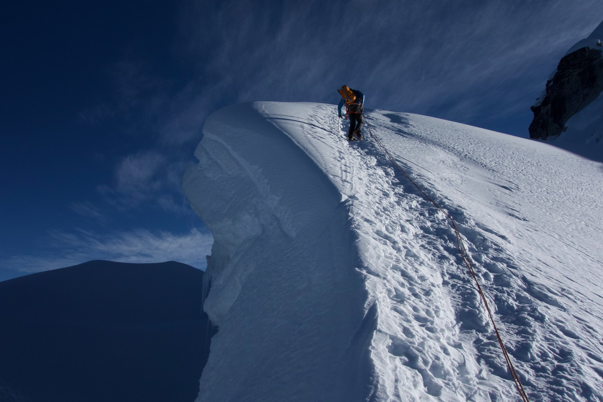 On the way up after crossing a big crevasse