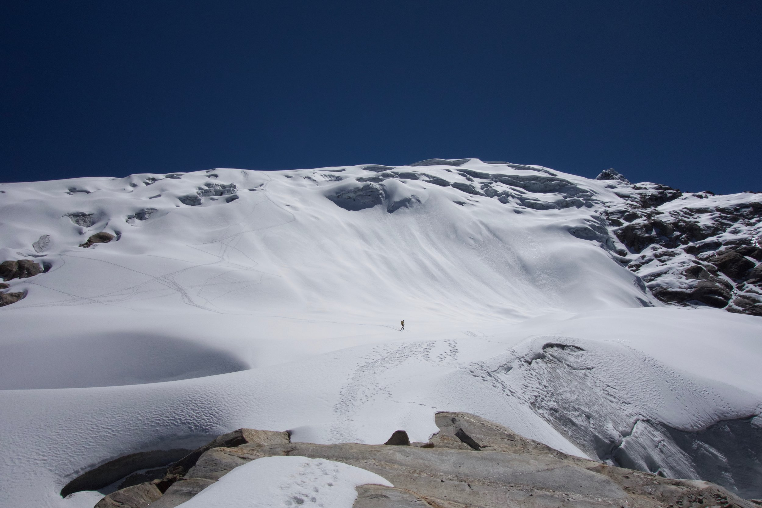 Coming back down the glacier to the moraine