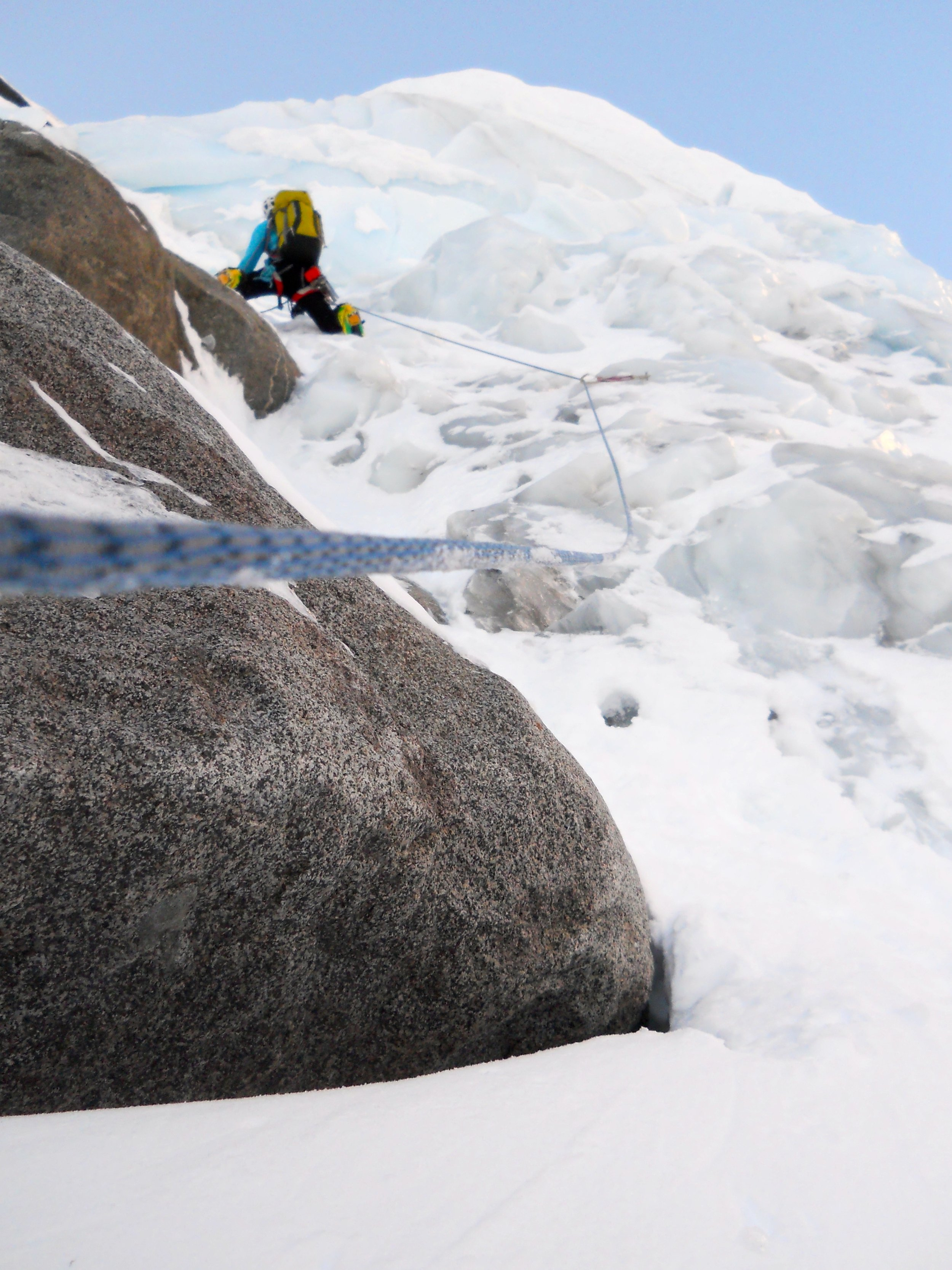 Heading up the ice step