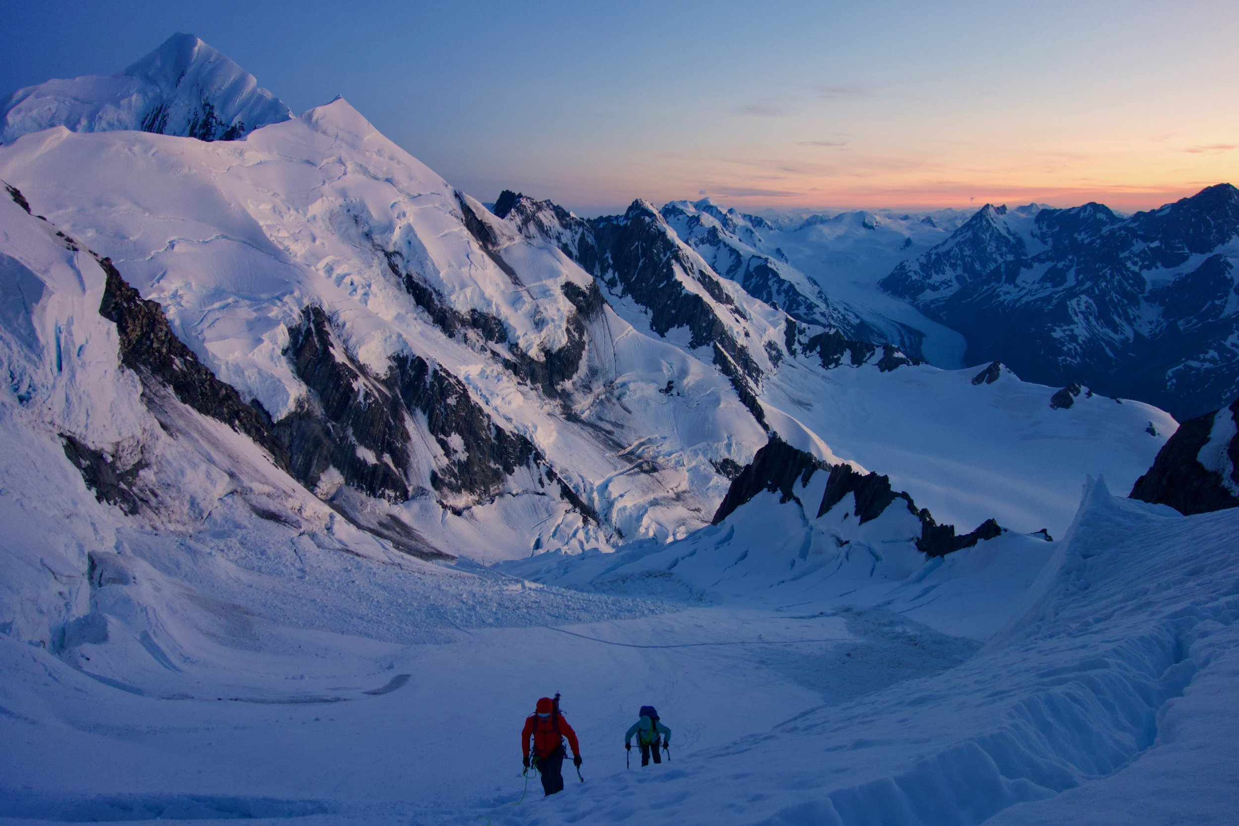 Dawn on Mount Tasman from the upper Linda Glacier