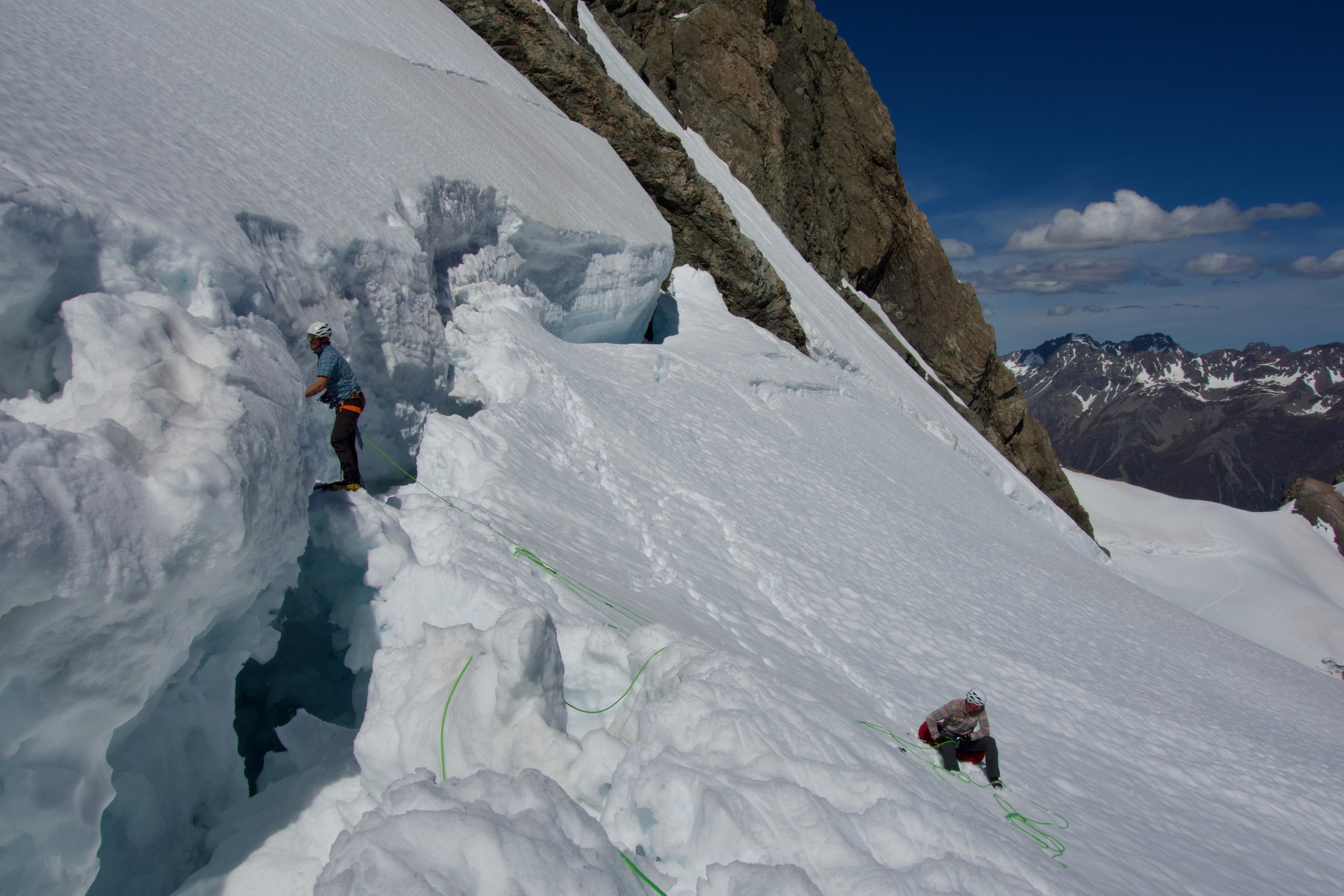 Creating a channel across the bergschrund below Cinerama Col