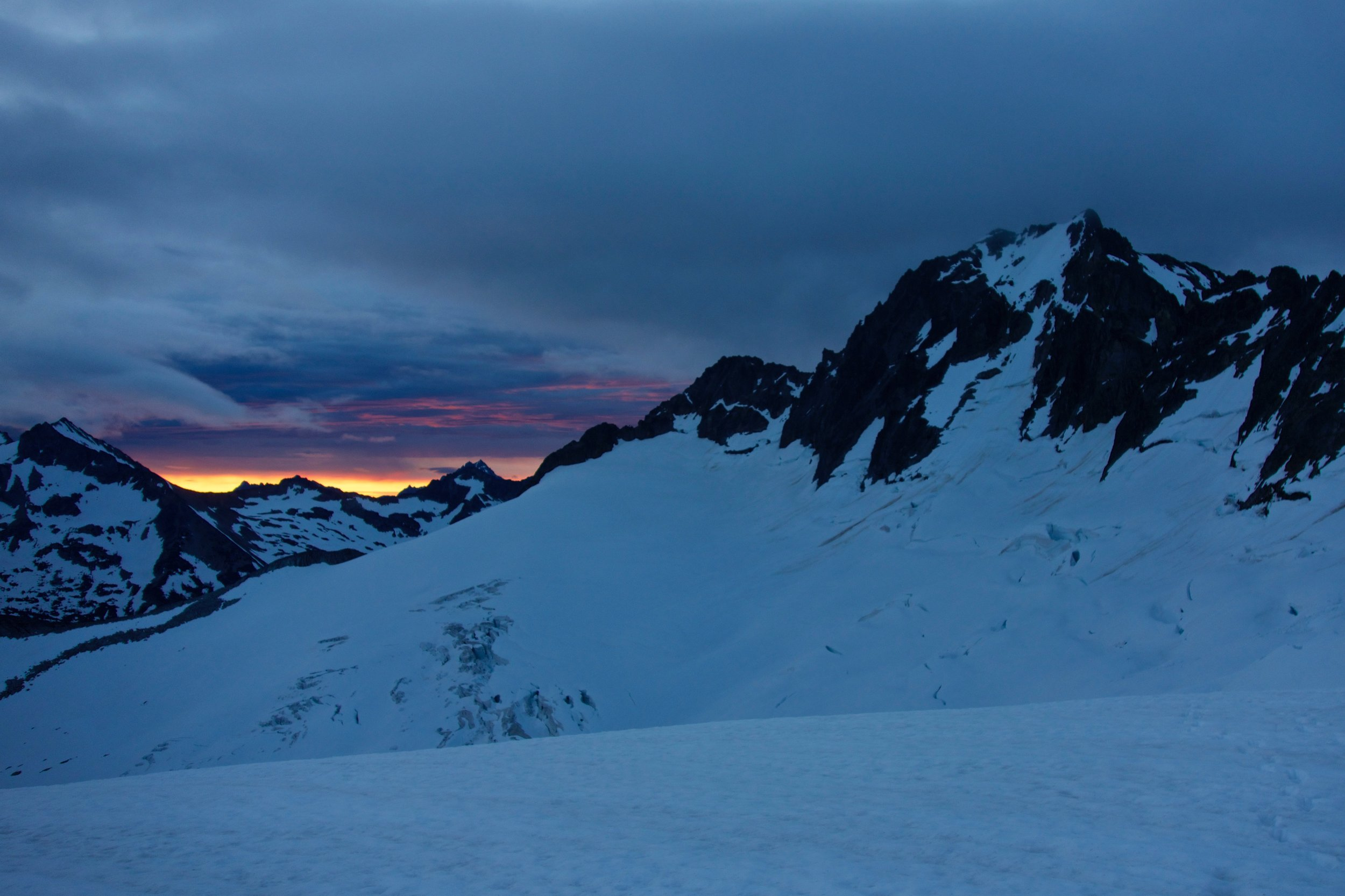 Sunset on Buckner's North Face from camp