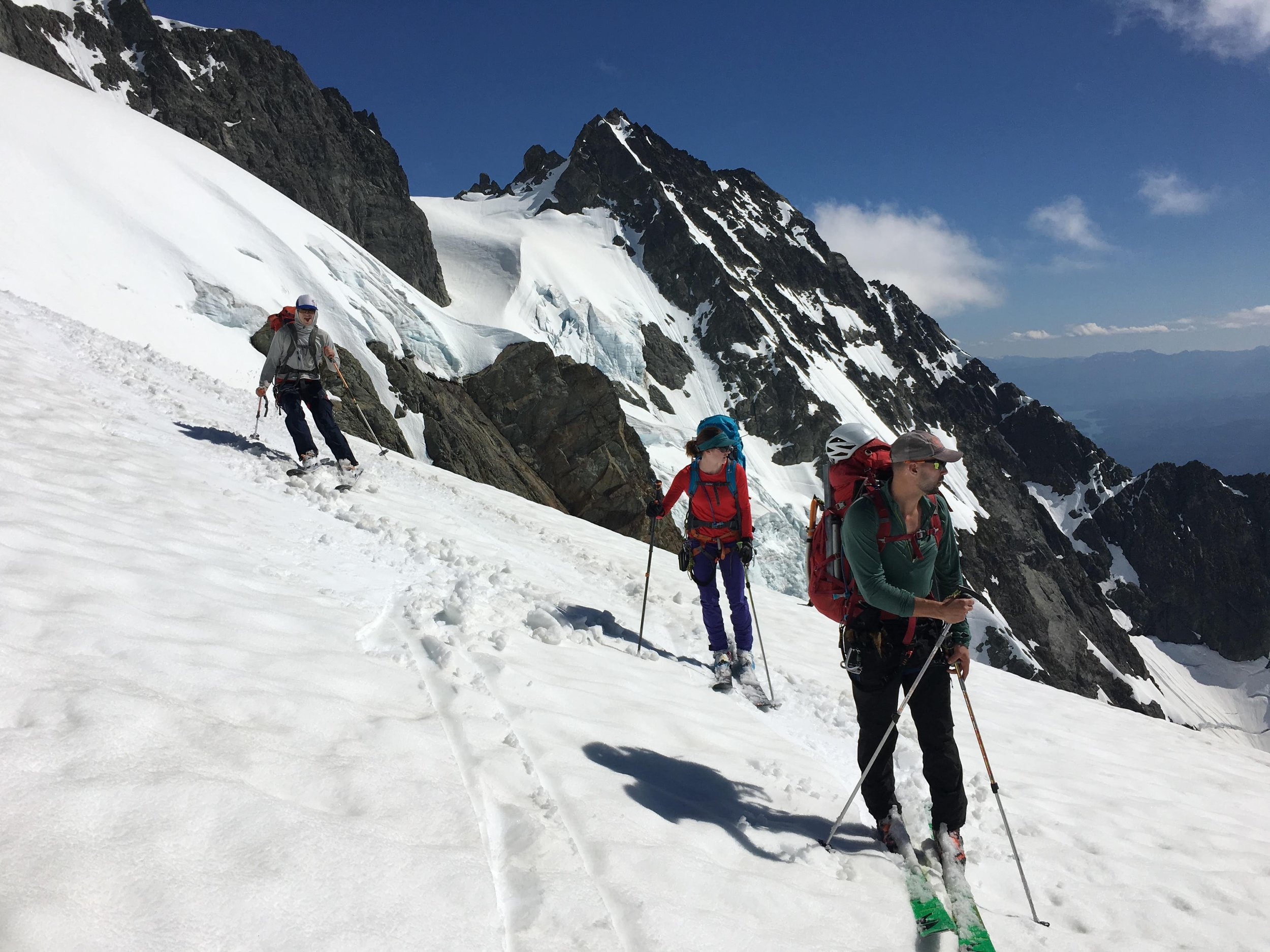 Skiing down the Upper Curtis Glacier on our way to the White Salmon