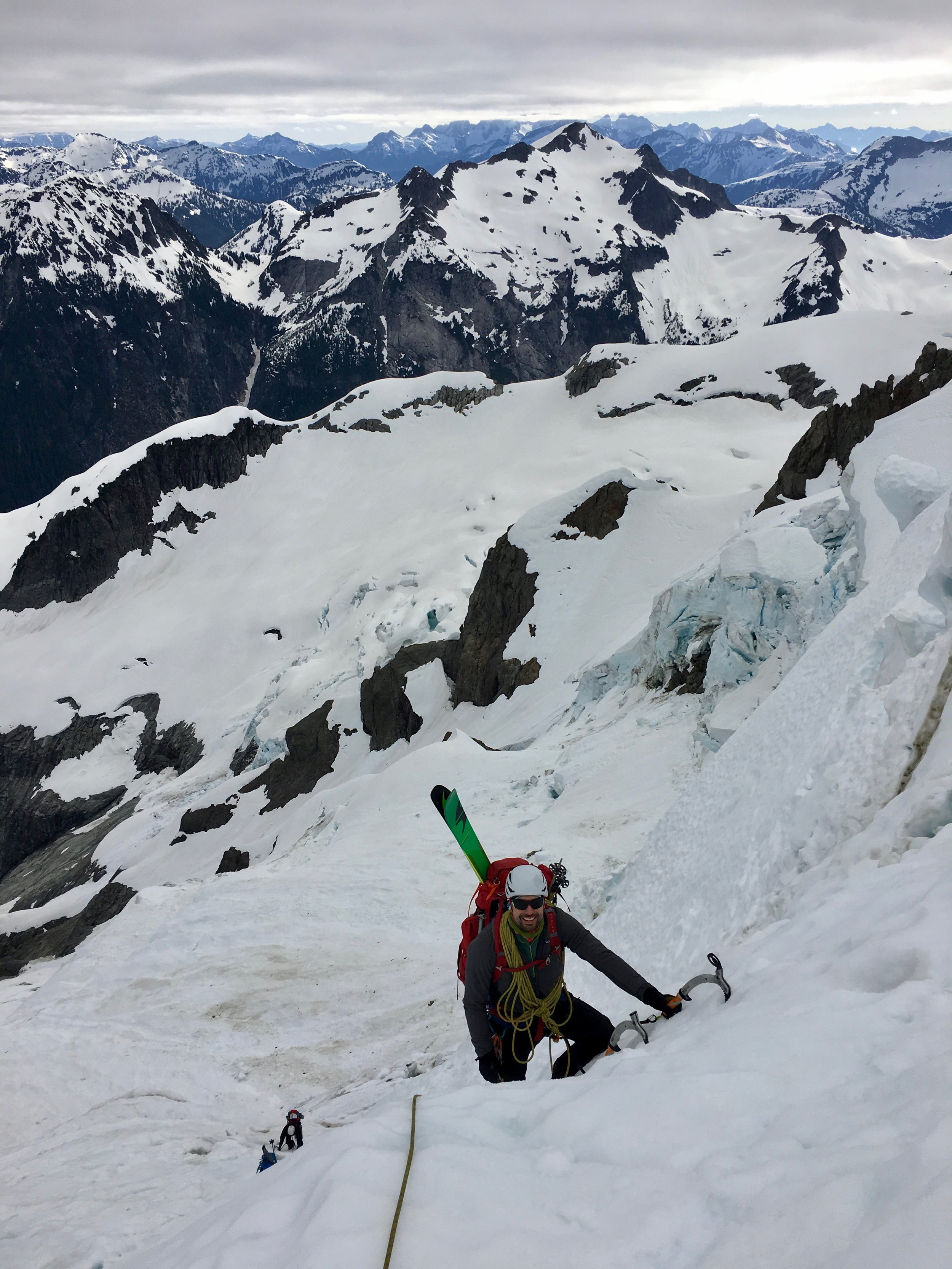 Gaining the steep snow and ice gully