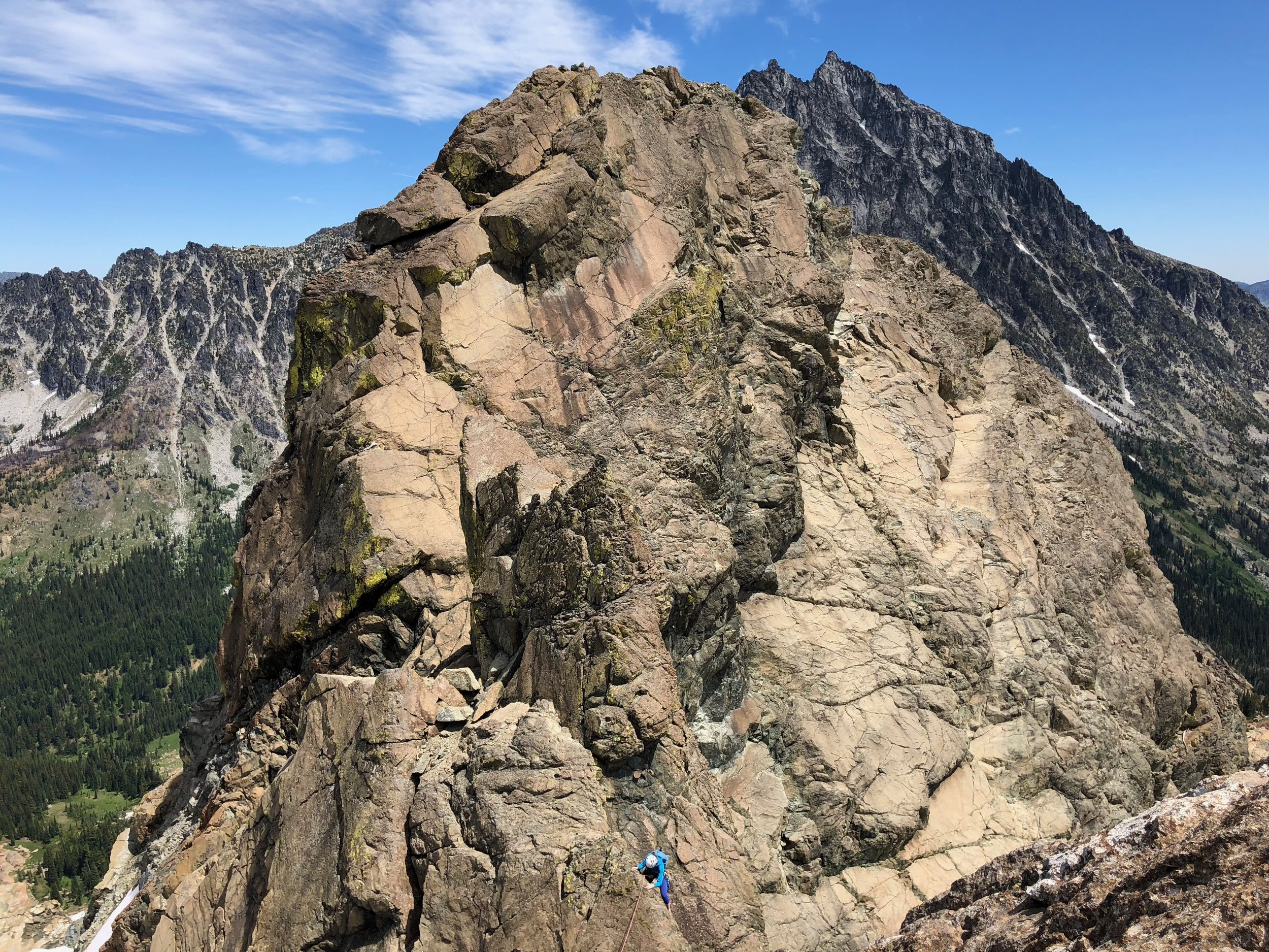Down-climbing on the second pitch of the East Ridge