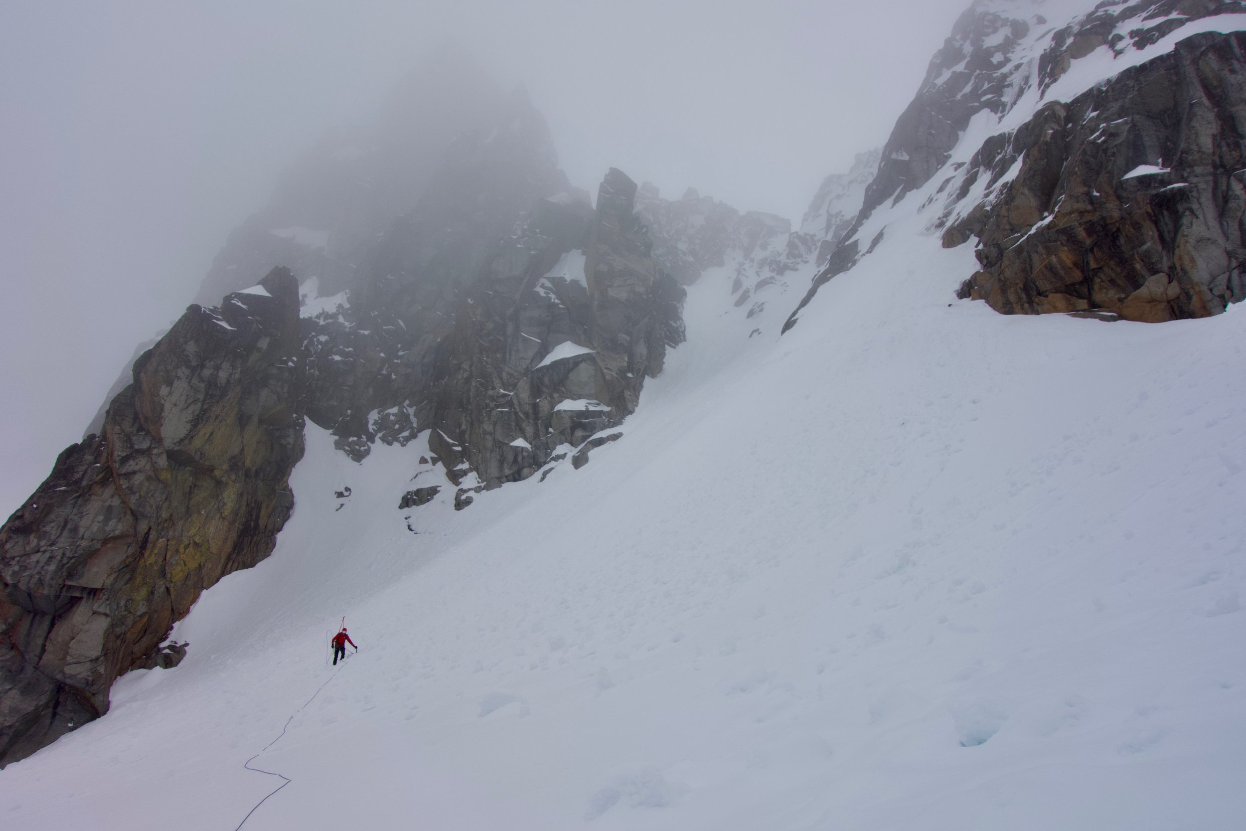 Descending and traversing to the route