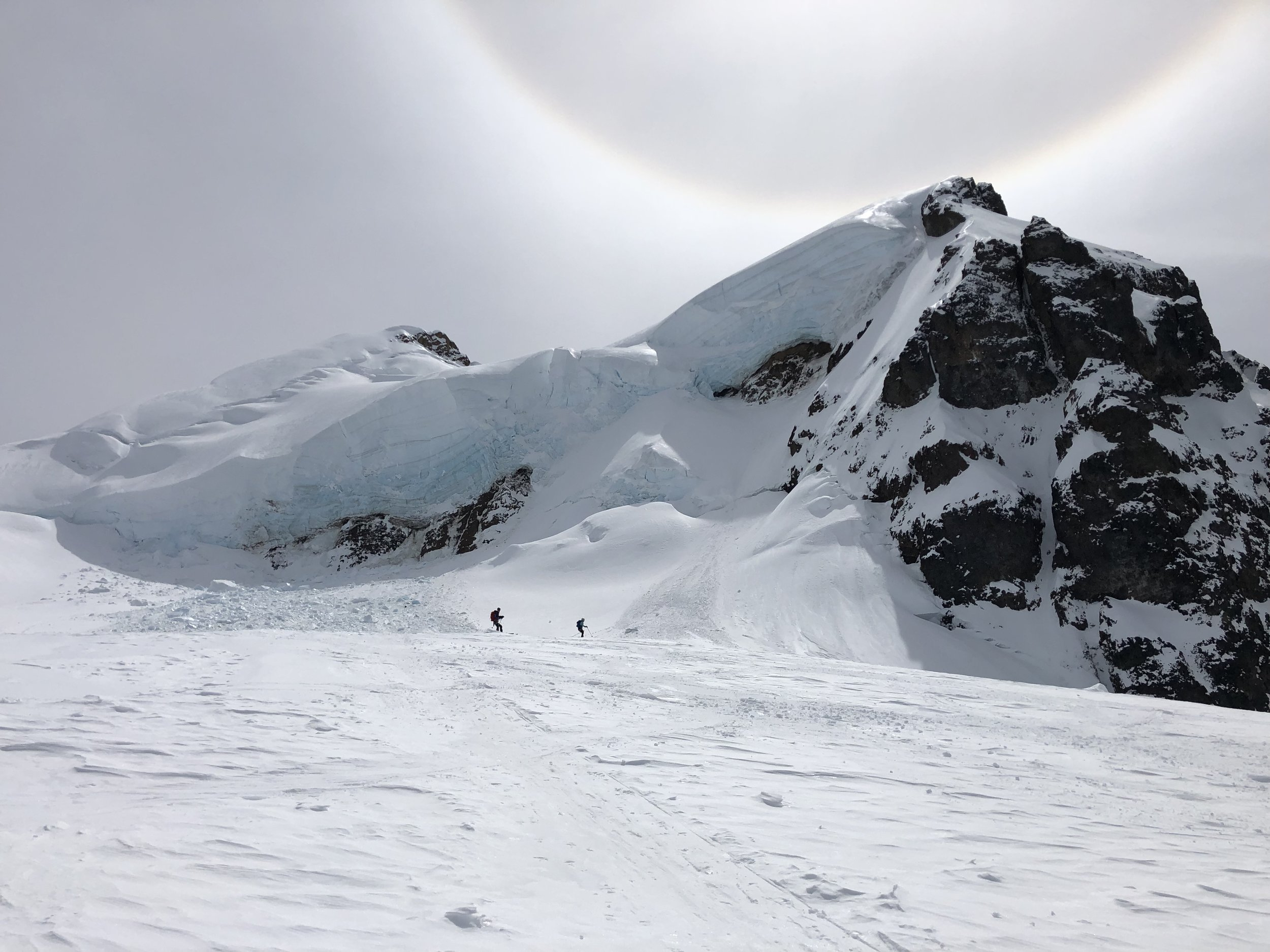 Skiing down beneath Colfax Peak's icefall