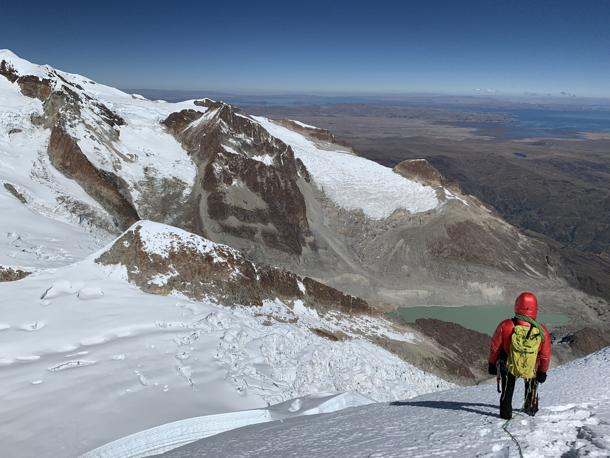 Descending high on the mountain