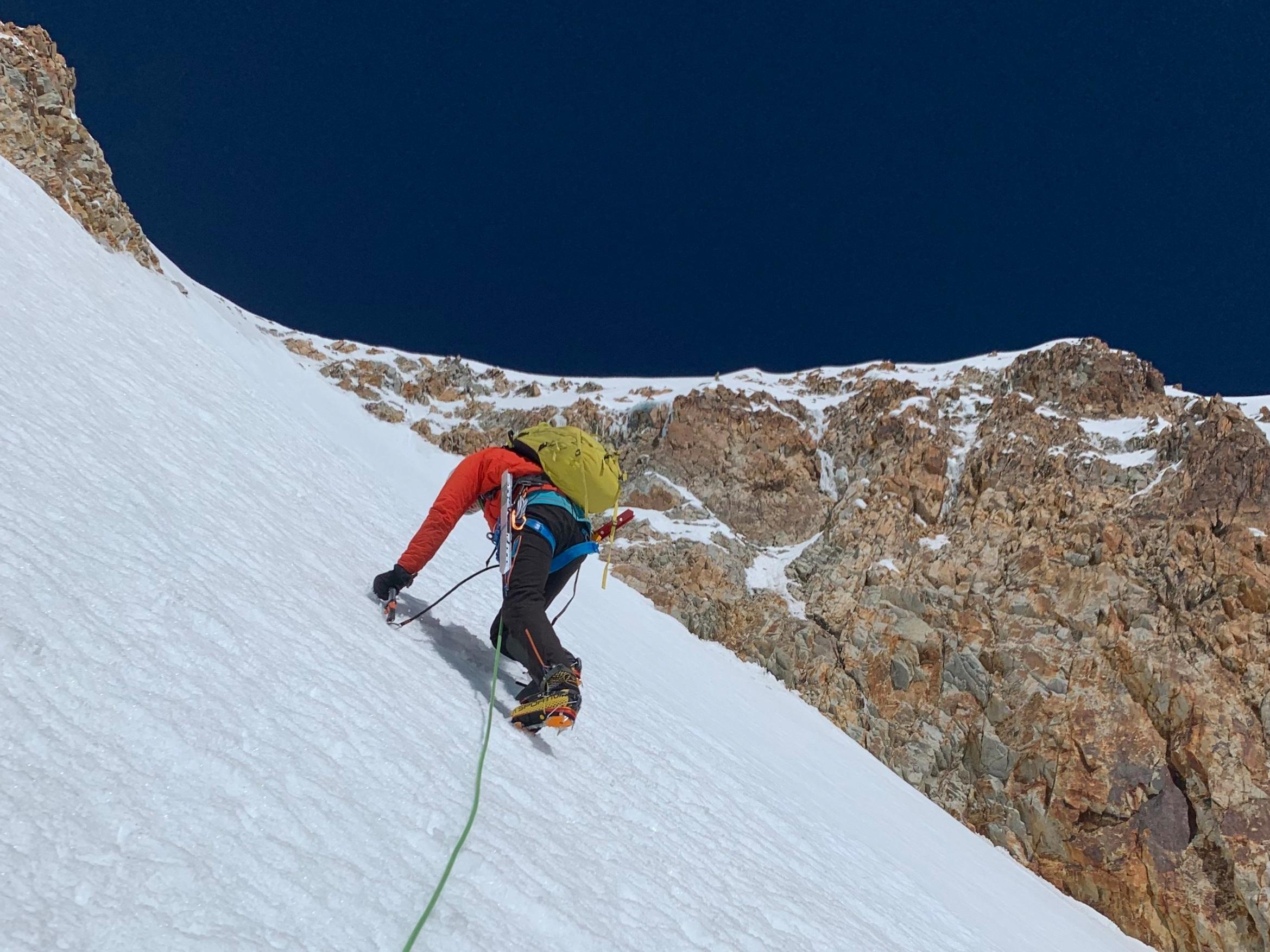Down-climbing the headwall