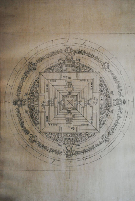 Dessin préparatoire d'un Mandala