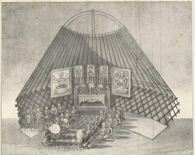 NEVEDJEV(1833) p307 Kalmyk people in a buddhist ceremonie. Source: Wikimedia Commons