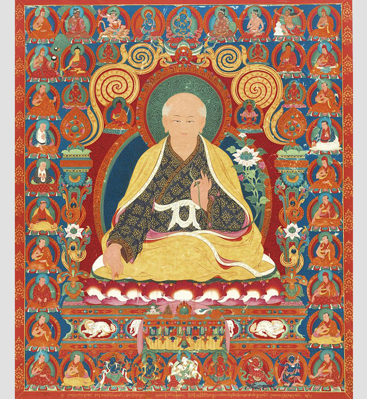 Tibet Central :  A Rare and Important Thangka Depicting Sachen Kunga Nyingpo, ca. 1600. Central Tibet, Ngor Monastery