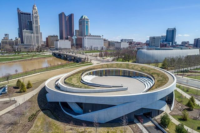 The circular National Veterans Memorial and Museum sits on the banks of the Scioto River and looks into downtown Columbus. Allied Works Architecture designed the structure and opened the doors in October of 2018. . . . #dronephotography #drone #djiglobal #fromwhereidrone #drone_countries #explorecreate #beautifulplaces #droneofficial #skypixel #skyhilife_drones #gameofdronez #dronedose #dronespace #dronedaily #iamdji #droneart #thedroneu #droneglobe #dronenerds #majestic_earth #mastershots #beautifuldestinations #electic_shotz #earthpix #dronepals #agameoftones #veteran #wanderlust #downtown #museum