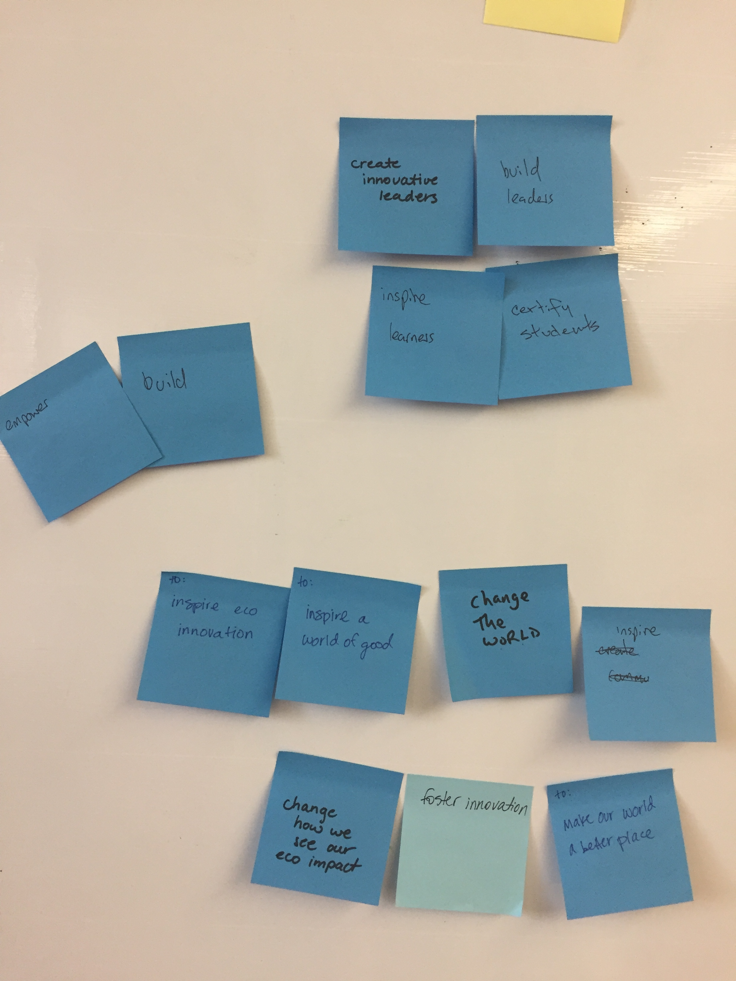 The blue post-it notes signify  what  they believe EcoRise exists to do.