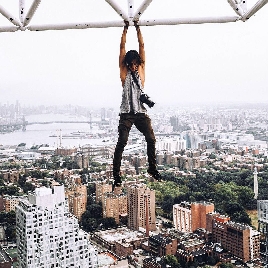 """Justin Casquejo - 50 k FANSIN In the past year he has made his way to the top of skyscrapers in Columbus Circle, Times Square, Central Park and more. His Instagram account with the bio """"To Create Art That Inspires. To Make Deep Human Connections,"""" chronicles his various thrill-seeking pursuits."""