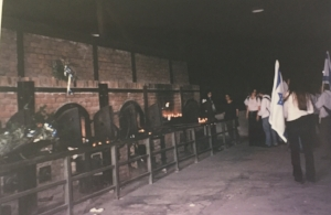 These are the ovens at Majdanek. You can see the Israeli teenagers holding Israeli flags in the background.