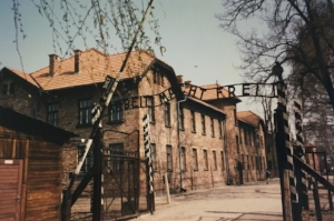 "This is the entrance to Auschwitz. I don't have to look up the translation of the sign. It's ""work shall set you free."" The Germany Nazis, even when executing genocide, planned ahead on the best way to keep people calm when they entered the camp."