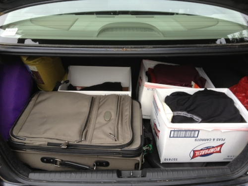 The trunk of my car. I was 41 years old and I lived out of my car for three months. I love being a gypsy. I'm so glad I took this photo!