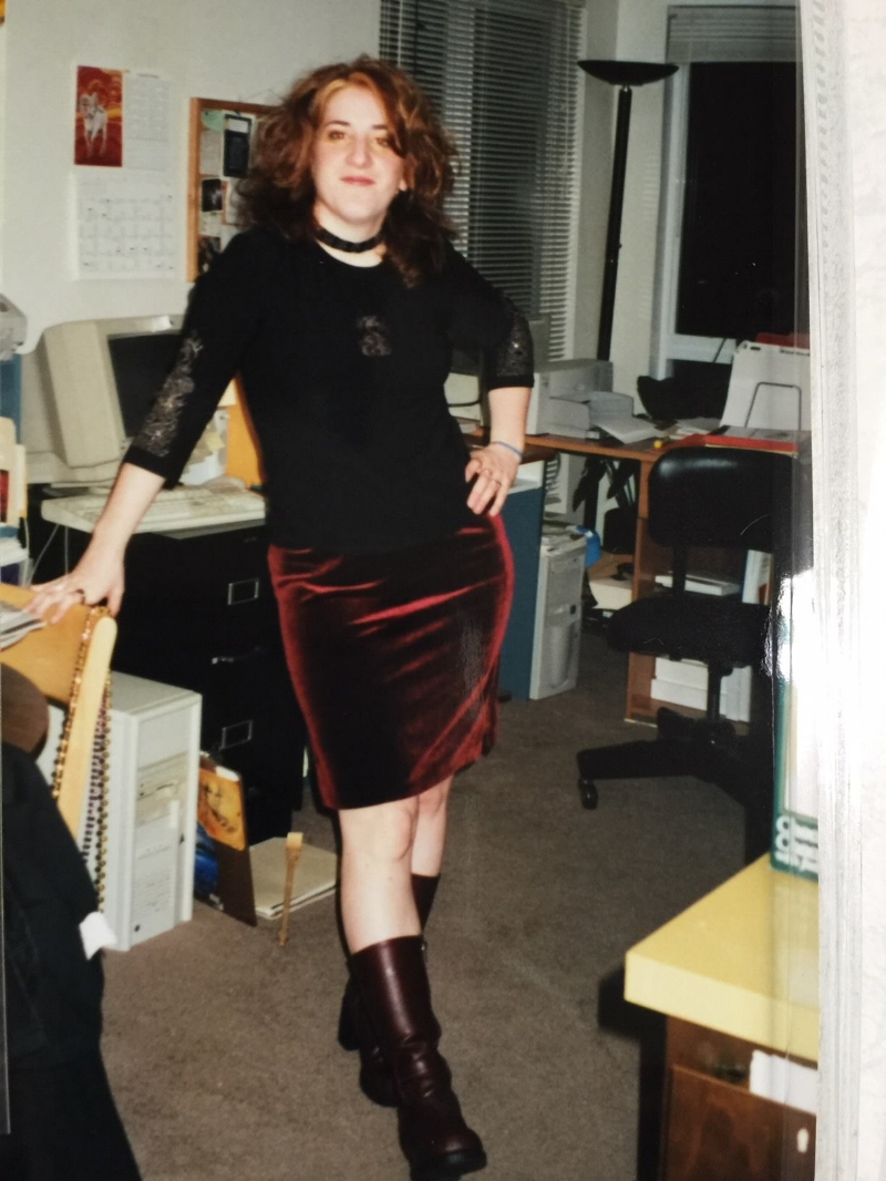 I'm not sure when this photo was taken but around this age. And OMG I just realized that's a fax machine in back!!