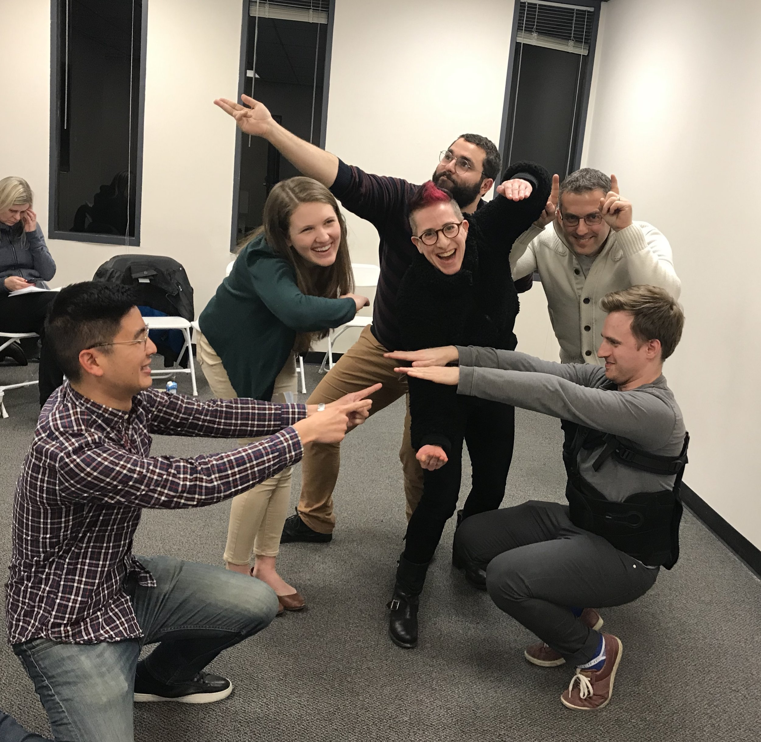 Goofing off in improv class is one of my only pure pleasures these days. I LOVE IT. How cute are my classmates, always game for a game.