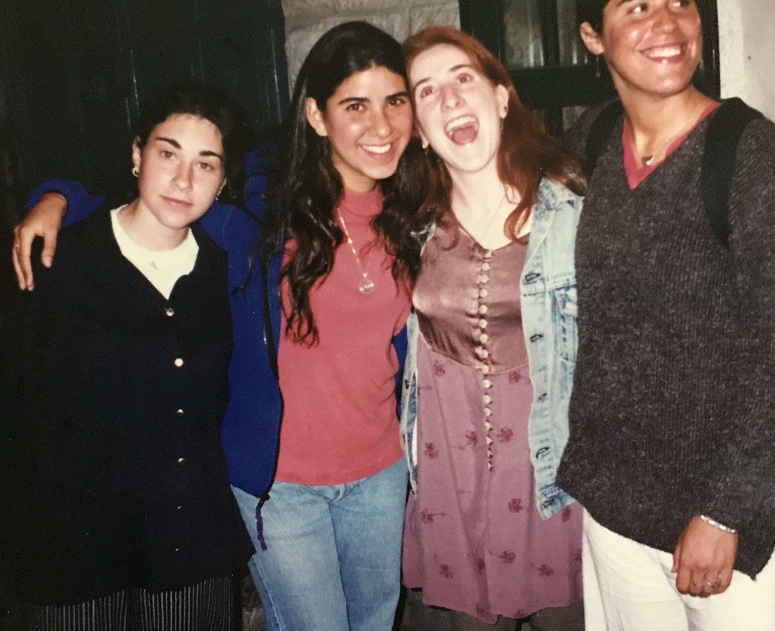 This photo was taken in Israel in '97? (I always get years mixed up). The ones on my right just met up in Israel for the first time in 20 years! Ellie is from the UK, Jodi now lives in Israel and the other woman on my left is a childhood friend who lives in South Africa (she helped me score my first NYC apt). We had such a magical time as travelers back in the day. Their recent post got me thinking about how much I cherish them and the memories I have with them. (I'm the redhead, for anyone that's only met me with a mohawk!)