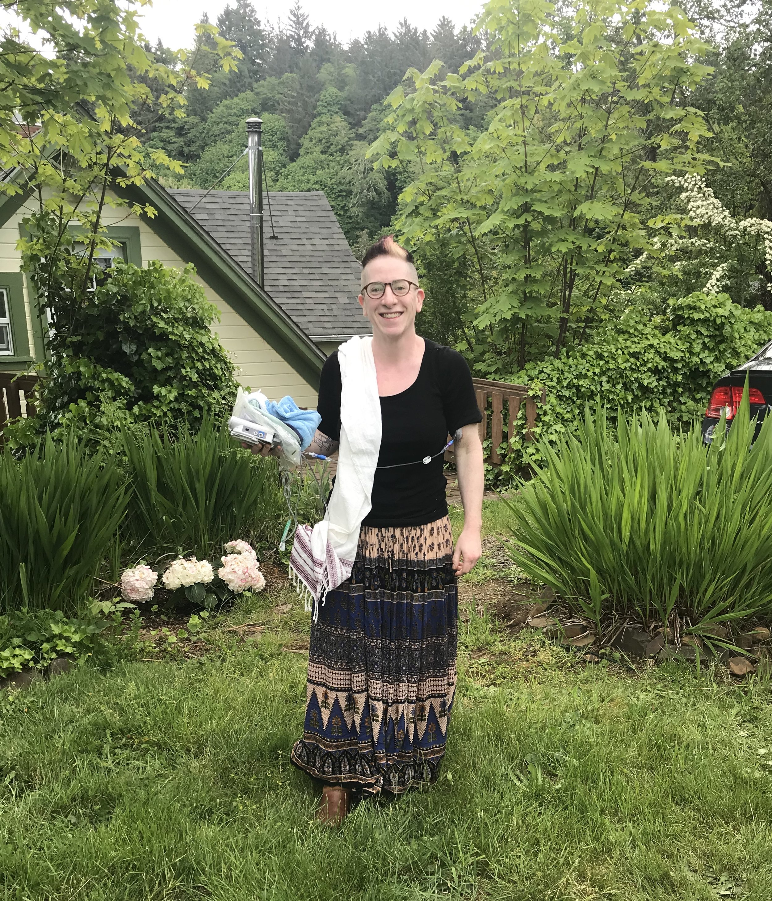 Not the most flattering photo but i'm feeling ok mentally and physically here, which is a good thing for me to have a photographic record of! Also I love the juxtaposition between the mohawk and the hippie skirt. My two extreme sides meeting in the middle! :)