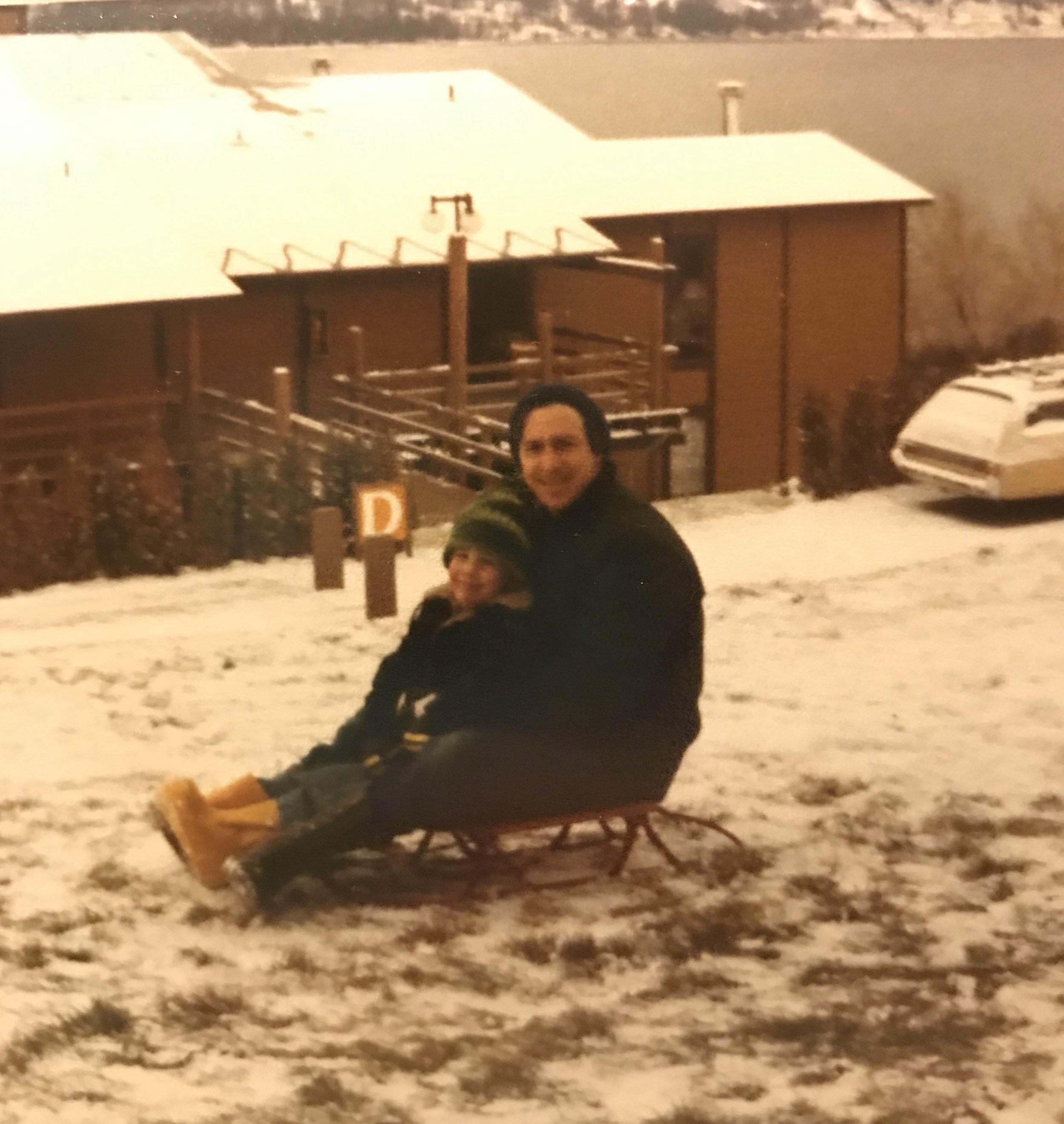My dad and little brother at Lake Chelan in the 1970s. That was the first and last time we went in the winter due to the icy mountain roads. And yes I totally look like my dad. More so now than ever with this haircut!